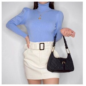 Zara Sweaters - Zara light blue knit sweater with puff sleeves